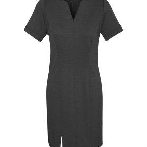 Womens Open Neck Dress - Charcoal