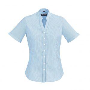 Womens Bordeaux Short Sleeve Shirt - Alaskan Blue