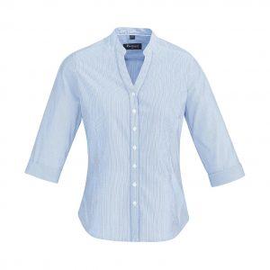 Womens Bordeaux 3/4 Sleeve Shirt - Alaskan Blue