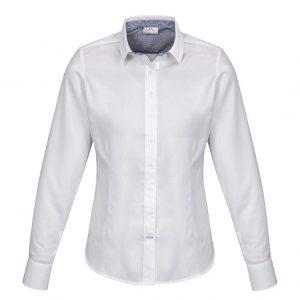 Womens Herne Bay Long Sleeve Shirt - White/Turkish Blue