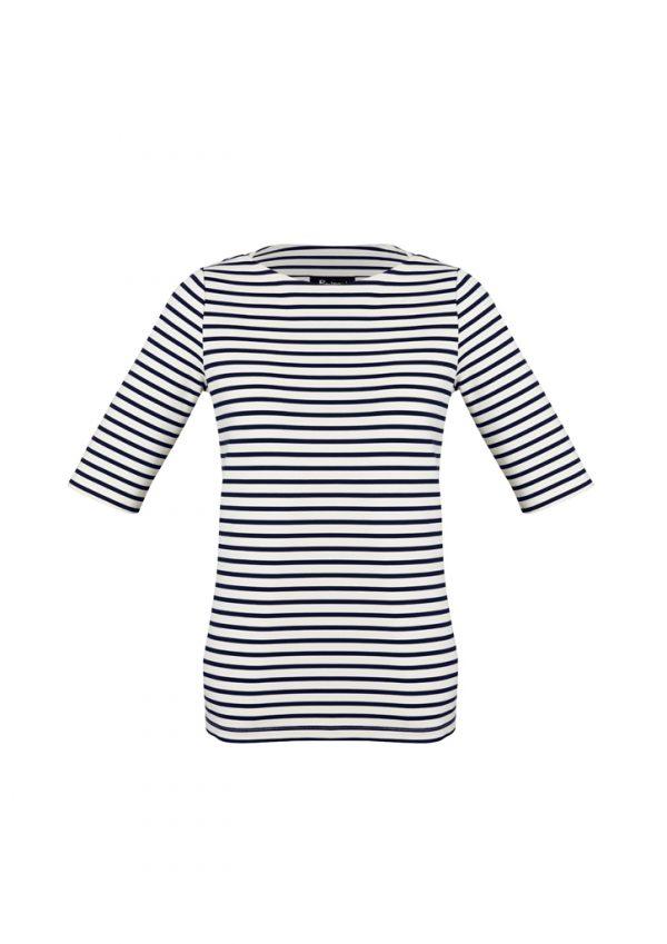 Womens Camille Short Sleeve T-Top - Dark Navy/Ivory