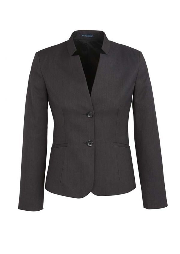 Womens Short Jacket with Reverse Lapel - Charcoal