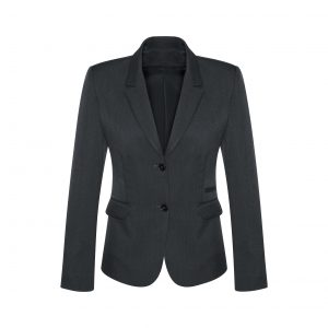 Womens 2 Button Mid Length Jacket - Charcoal