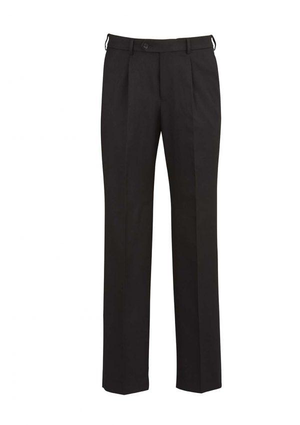Mens One Pleat Pant Stout - Black