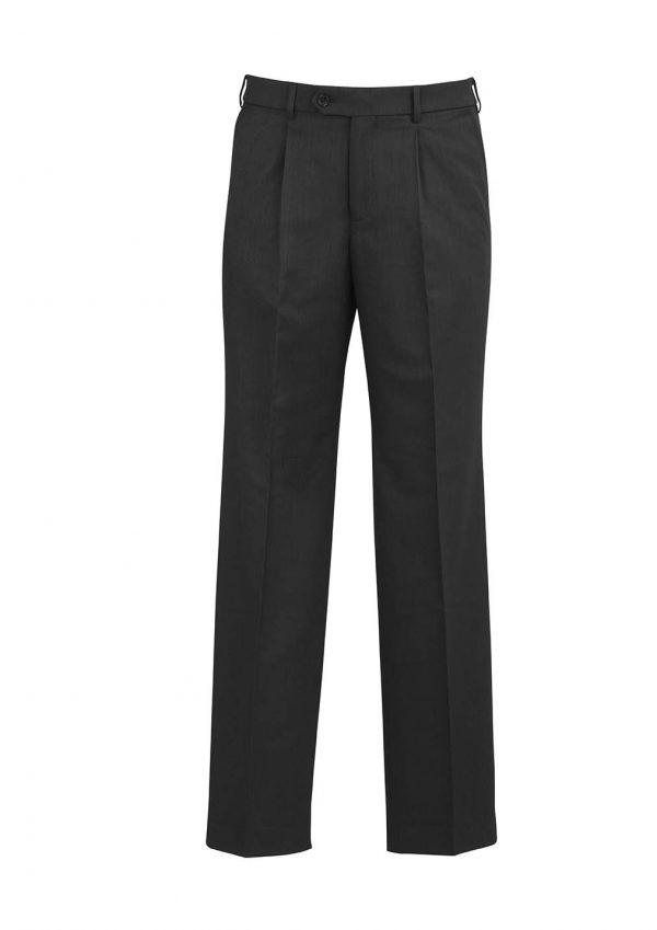 Mens One Pleat Pant Stout - Charcoal