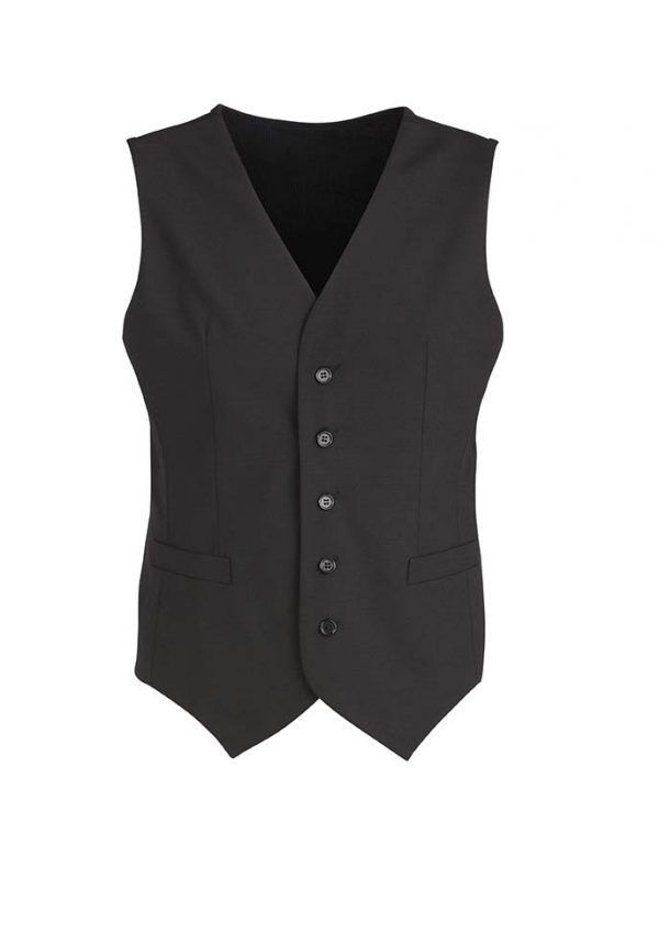 Mens Peaked Vest with Knitted Back - Black