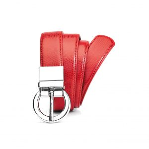 Womens Leather Reversible Belt - Red