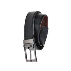 Mens Leather Reversible Belt - Black