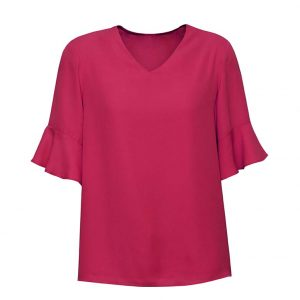 Womens Aria Fluted Sleeve Blouse - Raspberry