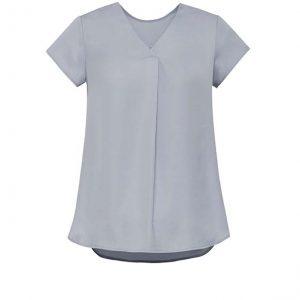 Womens Kayla V-neck Pleat Blouse - Silver