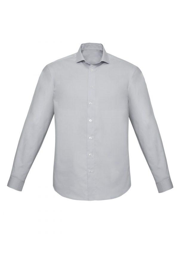 Mens Charlie Slim Fit L/S Shirt - Silver Chambray