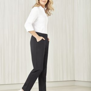 Ladies Comfort Waist Slim Leg Pants - Charcoal