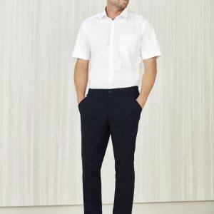 Mens Comfort Waist Flat Front Pants - Navy