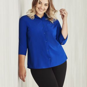 Ladies 3/4 Sleeve Florence Shirt - Electric Blue