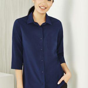 Ladies 3/4 Sleeve Florence Shirt - Navy