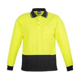 Unisex Hi Vis Basic Spliced Polo - Long Sleeve - Yellow/Black