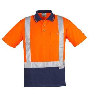 Mens Hi Vis Spliced Polo - Short Sleeve Shoulder Taped - Orange/Navy