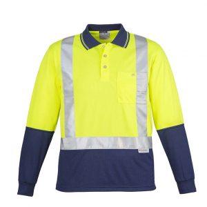 Mens Hi Vis Spliced Polo - Long Sleeve Shoulder Taped - Yellow/Navy