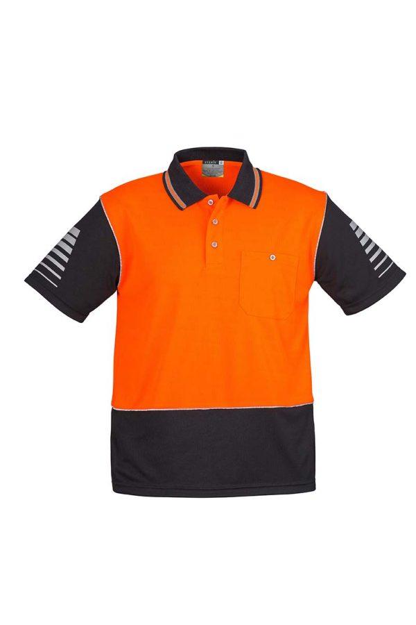 Mens Hi Vis Zone Polo - Orange/Black