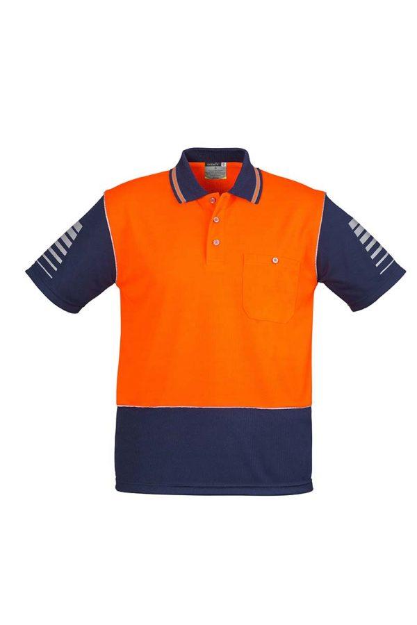 Mens Hi Vis Zone Polo - Orange/Navy