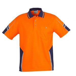 Mens Hi Vis Squad S/S Polo - Orange/Navy