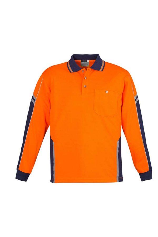 Mens Hi Vis Squad L/S Polo - Orange/Navy
