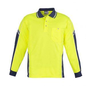 Mens Hi Vis Squad L/S Polo - Yellow/Navy