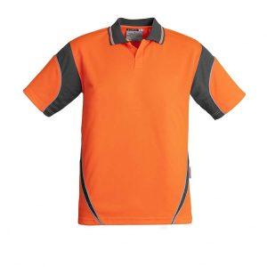 Mens Hi Vis Aztec Polo - Short Sleeve - Orange/Charcoal