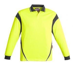 Mens Hi Vis Aztec Polo - Long Sleeve - Yellow/Charcoal