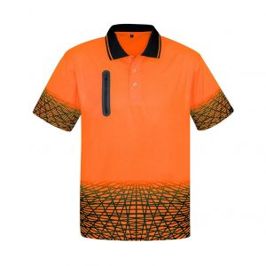 Mens Tracks Polo - Orange/Navy