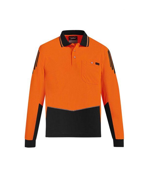 Mens Hi Vis Flux L/S Polo - Orange/Black