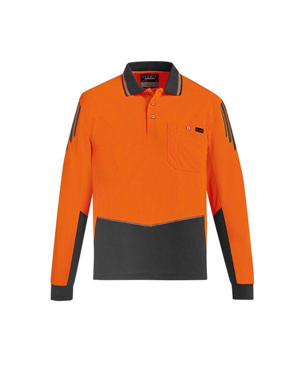 Mens Hi Vis Flux L/S Polo - Orange/Charcoal