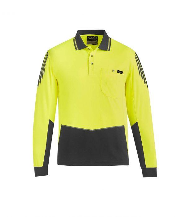 Mens Hi Vis Flux L/S Polo - Yellow/Charcoal