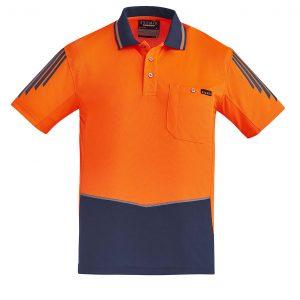 Mens Hi Vis Flux S/S Polo - Orange/Navy