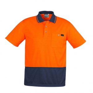 Mens Comfort Back S/S Polo - Orange/Navy
