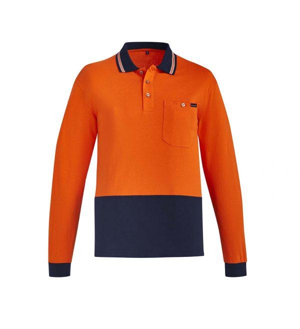 Mens Hi Vis Cotton L/S Polo - Orange/Navy