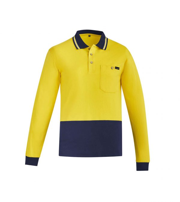 Mens Hi Vis Cotton L/S Polo - Yellow/Navy