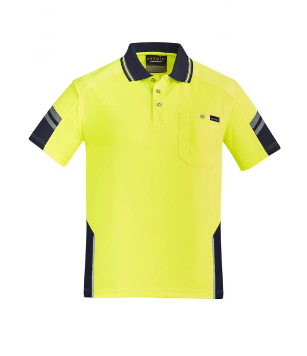 Mens Reinforced Hi Vis Squad S/S Polo - Yellow/Navy