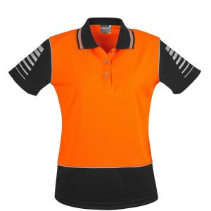 Womens Hi Vis Zone Polo - Orange/Black