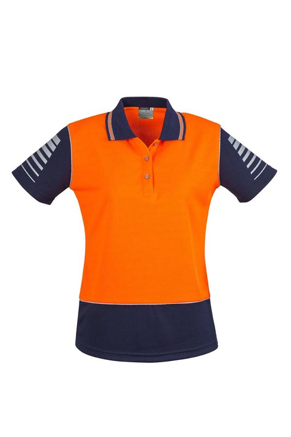 Womens Hi Vis Zone Polo - Orange/Navy