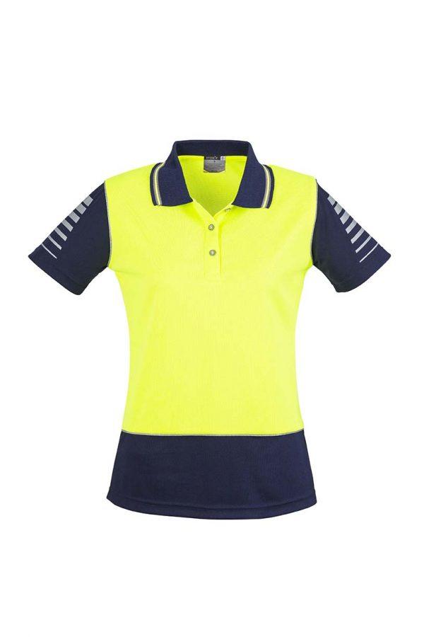Womens Hi Vis Zone Polo - Yellow/Navy