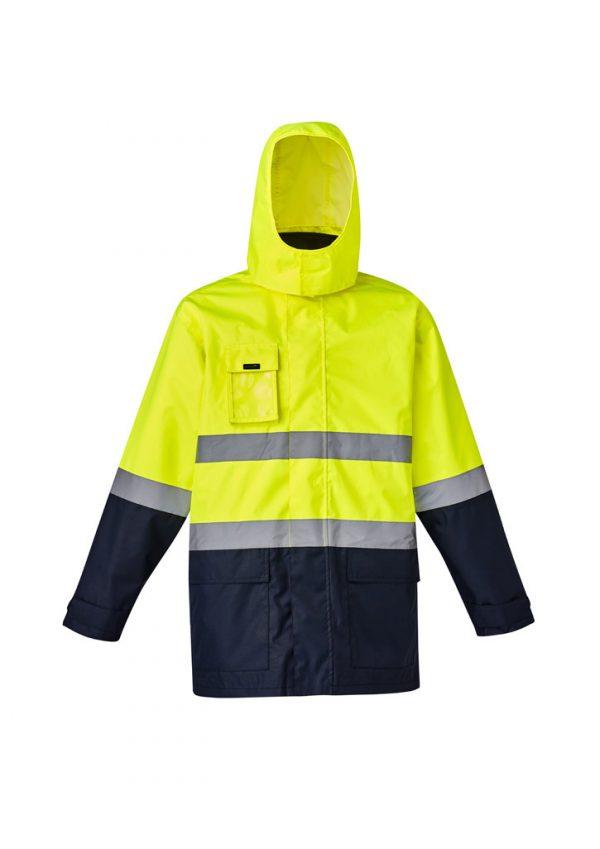 Mens Hi Vis Basic 4 in 1 Waterproof Jacket - Yellow/Navy