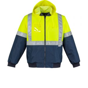 Mens HI Vis Quilted Flying Jacket - Yellow/Navy