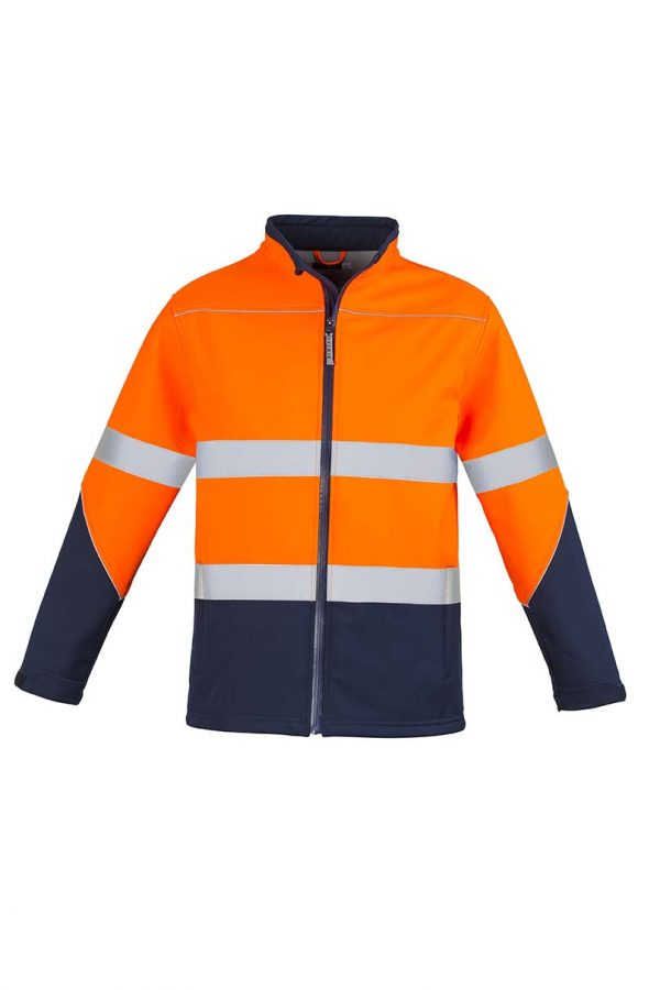Unisex Hi Vis Soft Shell Jacket - Orange/Navy