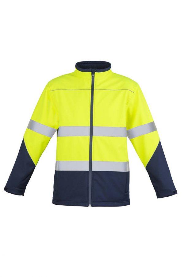 Unisex Hi Vis Soft Shell Jacket - Yellow/Navy
