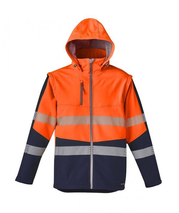 Unisex 2 in 1 Stretch Softshell Taped Jacket - Orange/Navy