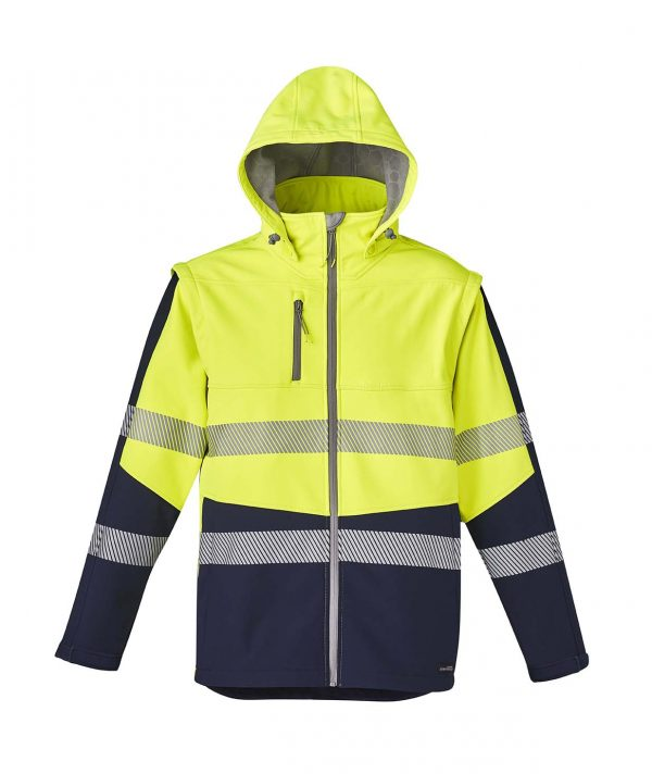 Unisex 2 in 1 Stretch Softshell Taped Jacket - Yellow/Navy