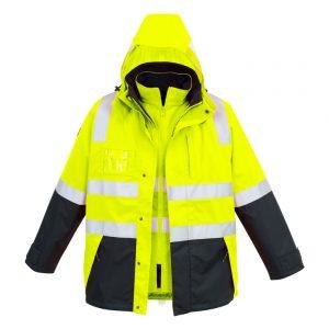 Mens Hi Vis 4 in 1 Waterproof Jacket - Yellow/Navy
