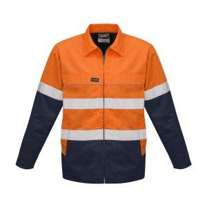 Mens Hi Vis Cotton Drill Jacket - Orange/Navy