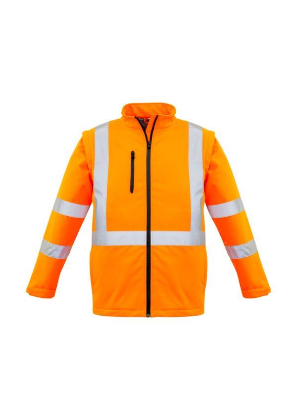 Unisex Hi Vis 2 in 1 X Back Soft Shell Jacket - Orange